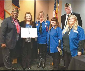 Ronna is pictured with National VFW Commander in Chief Doc Schmitz and Teresa Stevenson, State Scholarship Chairperson and other members of the VFW & Auxiliary.
